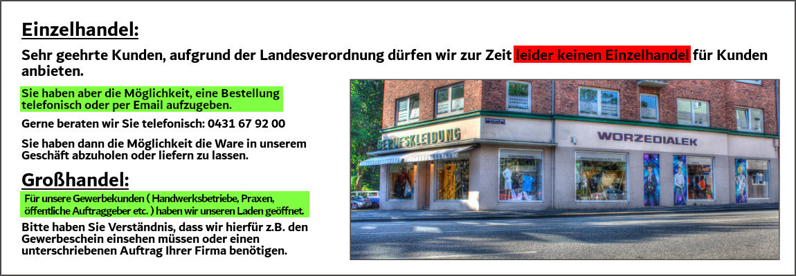 Einzelhandel geschlossen